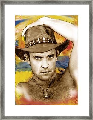 Robbie Williams Stylised Pop Art Drawing Potrait Poser Framed Print by Kim Wang