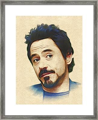 Robert Downey Jr. Framed Print by Marina Likholat