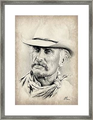 Robert Duvall Sepia Scratch Framed Print by Andrew Read