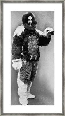 Robert E. Peary In Fur Framed Print by Underwood Archives
