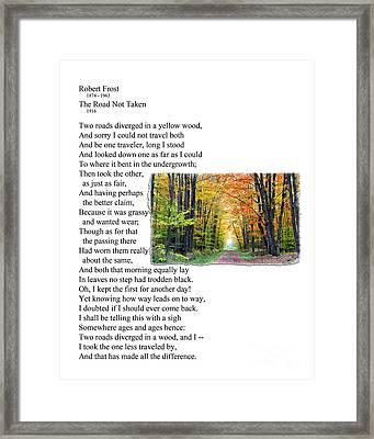 Robert Frost - The Road Not Taken Framed Print by Ed Churchill