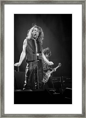 Robert Plant And Jimmy Page Framed Print by Timothy Bischoff