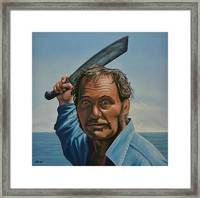 Robert Shaw In Jaws Framed Print by Paul Meijering