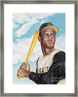 Roberto Clemente Framed Print by Philip Lee