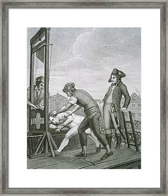Robespierre 1758-1794 Dies On The Guillotine Framed Print by Bridgeman Images