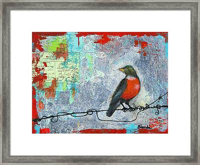 Robin Love Letter  Framed Print by Blenda Studio