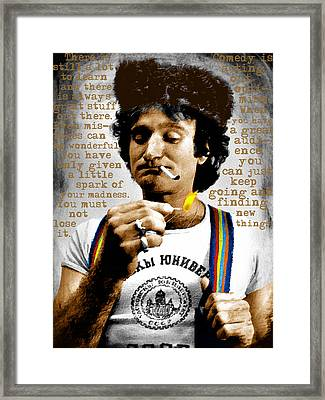 Robin Williams And Quotes Framed Print by Tony Rubino