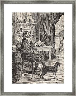 Robinson Crusoe In His Cave Framed Print by English School