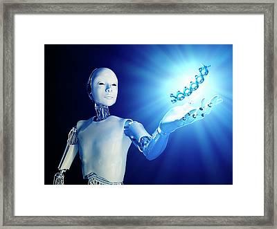 Robot Holding Dna Framed Print by Andrzej Wojcicki