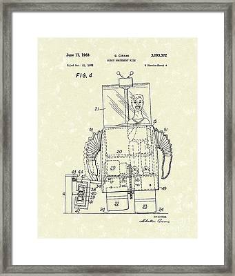 Robot Ride 1963 Patent Art Framed Print by Prior Art Design