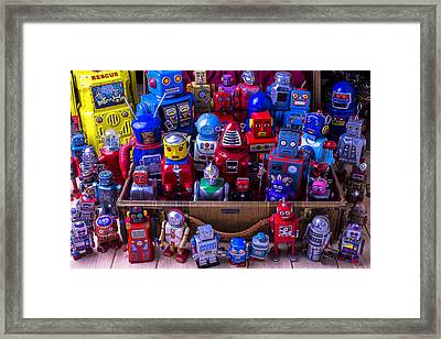 Robots In Suitcase Framed Print by Garry Gay