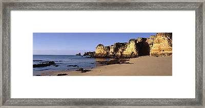 Rock Formations On The Coast, Algarve Framed Print by Panoramic Images