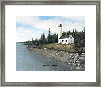 Rock Harbor Lighthouse Titled Framed Print by Darren Kopecky