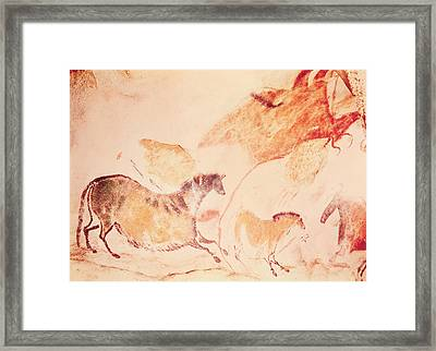 Rock Painting Of Horses Framed Print by Prehistoric