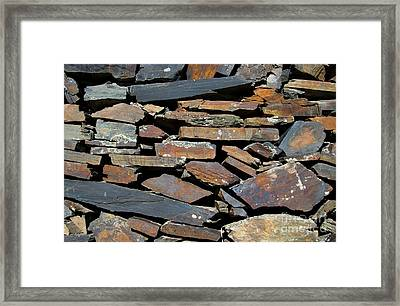 Framed Print featuring the photograph Rock Wall Of Slate by Bill Gabbert