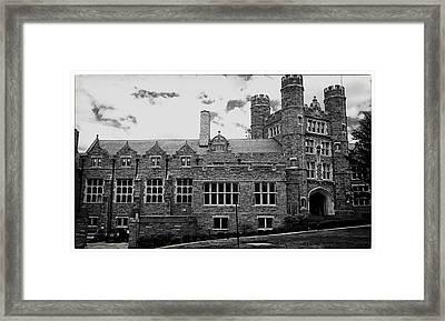 Rockefeller Hall - Bryn Mawr In Black And White Framed Print by Georgia Fowler