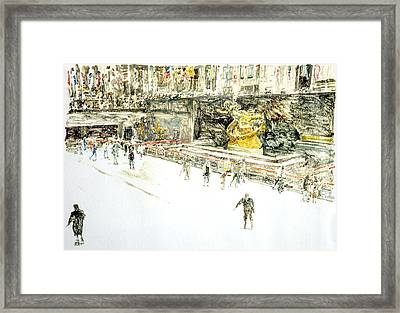 Rockefeller Center Skaters Framed Print by Anthony Butera