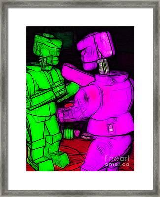 Rockem Sockem Robots - Color Sketch Style - Version 2 Framed Print by Wingsdomain Art and Photography