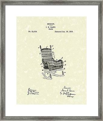 Rocking Chair 1894 Patent Art Framed Print by Prior Art Design