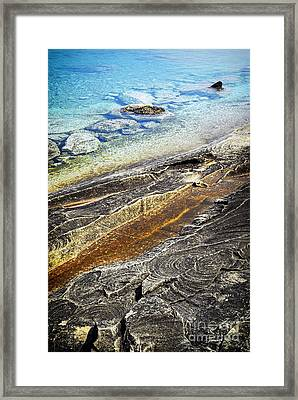 Rocks And Clear Water Abstract Framed Print by Elena Elisseeva