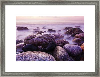 Rocks On The Coast At Dawn, Rye, New Framed Print by Jerry and Marcy Monkman