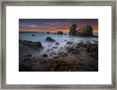Rocky California Beach Framed Print by Larry Marshall