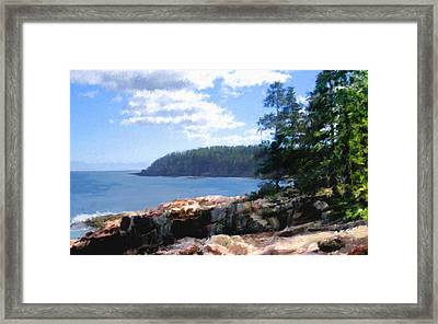 Rocky Coast .  Impressionistic  Framed Print by Ann Powell