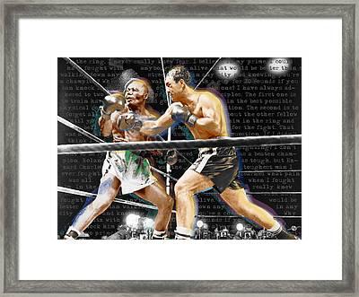 Rocky Marciano V Jersey Joe Walcott Quotes Framed Print by Tony Rubino