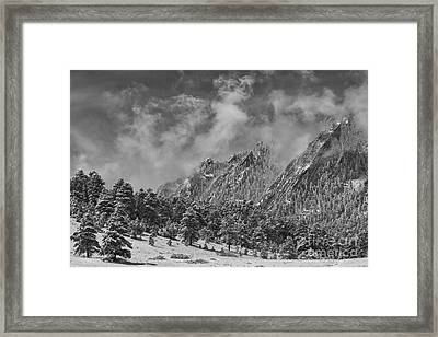 Rocky Mountain Dusting Of Snow Boulder Colorado Bw Framed Print by James BO  Insogna