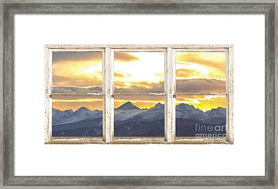 Rocky Mountain Sunset White Rustic Farm House Window View Framed Print by James BO  Insogna