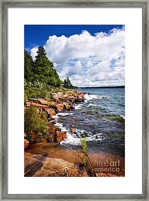 Rocky Shore In Georgian Bay Framed Print by Elena Elisseeva