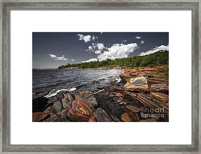 Rocky Shore Of Georgian Bay I Framed Print by Elena Elisseeva