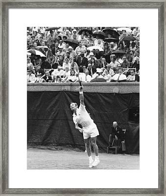 Rod Laver Tennis Serve Framed Print by Underwood Archives