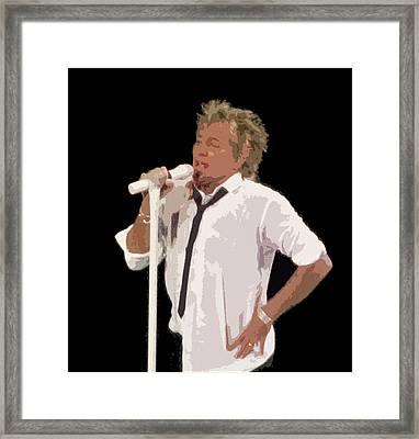 Rod Stewart In Concert Framed Print by Melinda Saminski