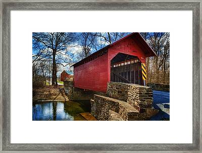 Roddy Road Covered Bridge Framed Print by Joan Carroll