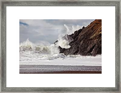 Crash Into Me - Pacific Ocean Uproar Framed Print by Henry Inhofer