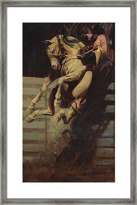 Explosion Jumping Horse Into Right Corner  Framed Print by Don  Langeneckert