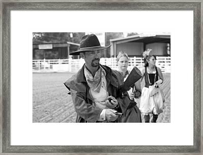 Rodeo Gunslinger With Saloon Girls Bw Framed Print by Sally Rockefeller