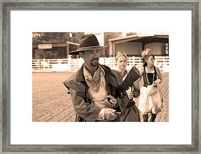 Rodeo Gunslinger With Saloon Girls Sepia Framed Print by Sally Rockefeller