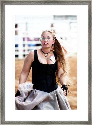 Rodeo Saloon Girl Dancing Framed Print by Sally Rockefeller