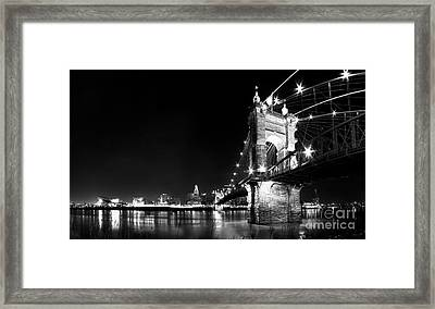 Roebling Bridge In Black And White Framed Print by Twenty Two North Photography