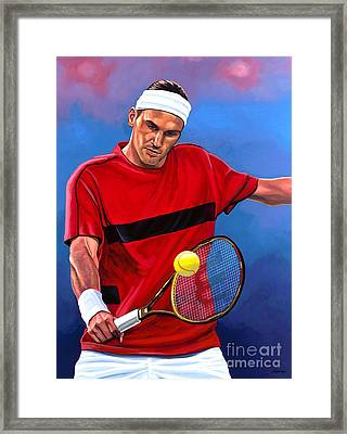 Roger Federer The Swiss Maestro Framed Print by Paul Meijering