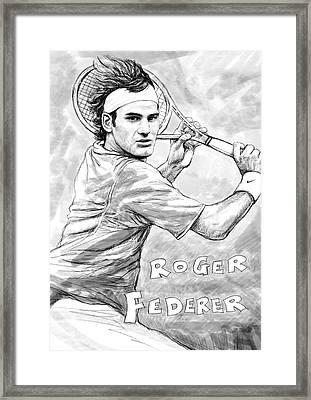 Roger Federer Art Drawing Sketch Portrait Framed Print by Kim Wang