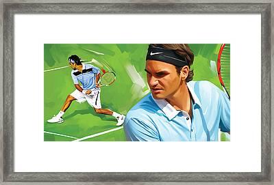 Roger Federer Artwork Framed Print by Sheraz A