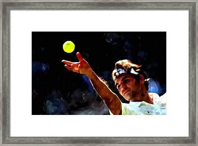 Roger Federer Tennis 1 Framed Print by Lanjee Chee