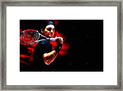 Roger Federer Tennis Framed Print by Lanjee Chee