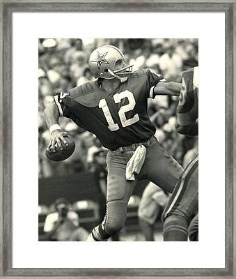 Roger Staubach Vintage Nfl Poster Framed Print by Gianfranco Weiss