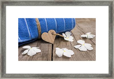 Rolled Up Towel And Paper Heart Framed Print by Aged Pixel