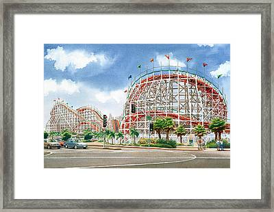 Roller Coaster Mission Beach Framed Print by Mary Helmreich