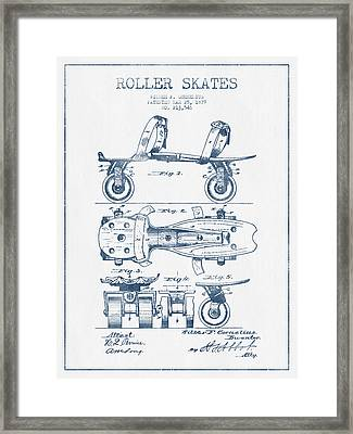 Roller Skate Patent Drawing From 1879  - Blue Ink Framed Print by Aged Pixel